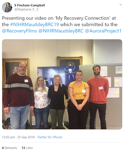 Tweet from @Stephanie_F__C: Presenting our video on 'My Recovery Connection' at the #NIHRMaudsleyBRC19 which we submitted to the  @RecoveryFilms   @NIHRMaudsleyBRC   @AuroraProject1